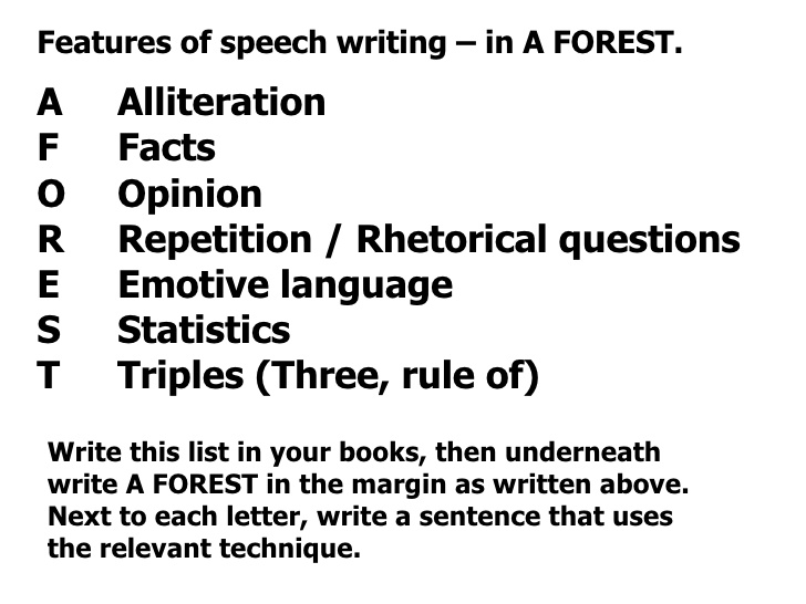 persuasive techniques used in speech writing