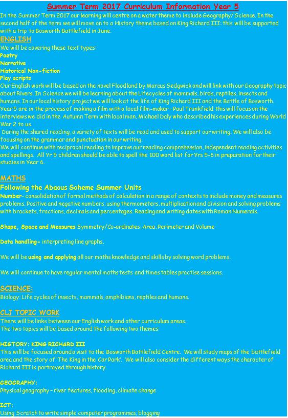 Year 5 Curriculum Information Summer 2017   Mayflower Primary School